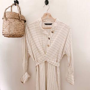Zara white striped dress
